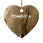 Cambodian Elephant Ceramic Ornament