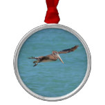 Gliding Pelican Metal Ornament
