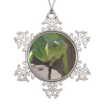 Iguana in the Tropics Snowflake Pewter Christmas Ornament