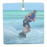 Wakeboarding in the Tropics Ceramic Ornament