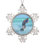 Wakeboarding in the Tropics Snowflake Pewter Christmas Ornament